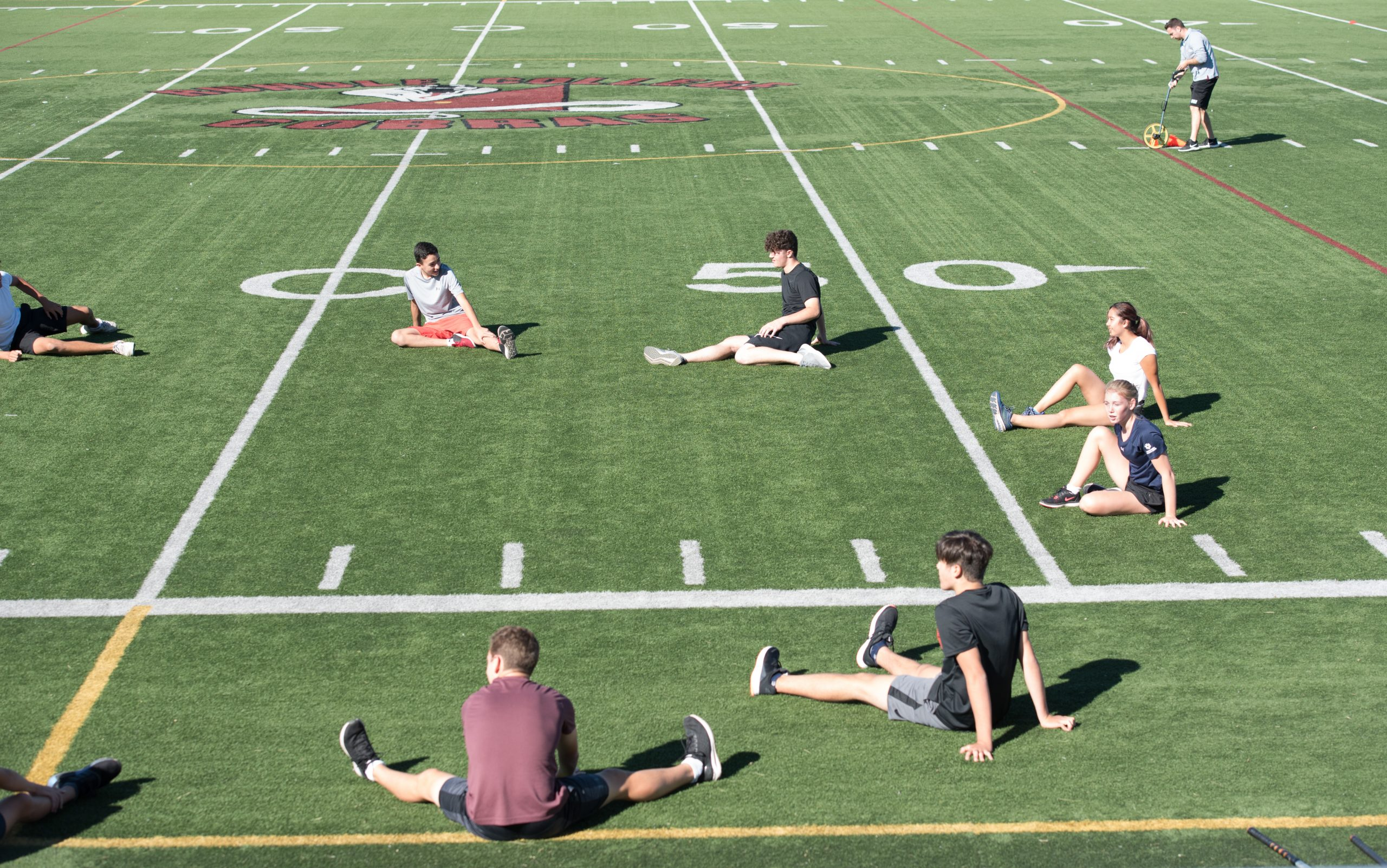 Students on Rundle College's sports field